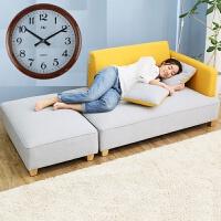 日式北欧家具小户型棉麻沙发现代简约公寓租房懒人双人布艺沙发床 +