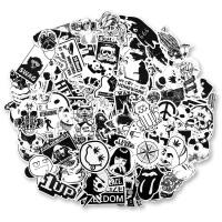 100张黑白涂鸦个性潮牌贴纸旅行箱拉杆箱贴画笔记本吉他滑板SN3462