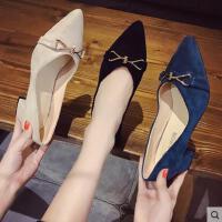 百搭潮款鞋子法式少女高跟鞋粗跟蝴蝶结尖头女鞋网红新款中跟单鞋