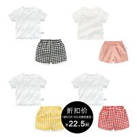 男童夏装短裤子套装婴儿短袖t恤1岁3个月2宝宝衣服