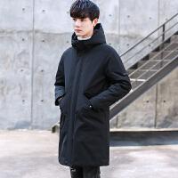 男士羽绒服中长款2017冬季新款青年修身连帽白鸭绒加厚保暖外套潮