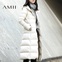 【满200减100 上不封顶】Amii[极简主义]2017冬装新款连帽修身茧型厚羽绒服女保暖90绒长款