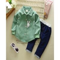 男童秋装韩版新款童套装卡通灯芯绒衬衫上衣牛仔裤儿童套装潮