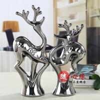 陶瓷工艺品情侣鹿创意摆件欧式家居家装饰品摆设结婚礼物时尚礼品