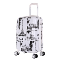 行李箱男韩版拉箱万向轮旅行箱女拖箱学生潮密码箱20寸24寸拉杆箱 标准静音轮 世界白 白边