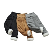 秋冬季男女童加厚加绒打底裤保暖高腰宝宝羊羔绒裤子外穿纯棉护肚