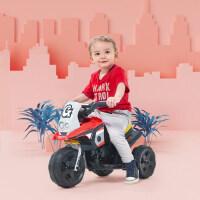 小龙哈彼儿童电动车摩托车可坐人玩具车三轮车充电红色电动摩托车