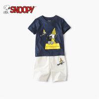 snoopy/史努比2018新款男女童装男童t恤短袖3-4-5岁纯棉夏套装