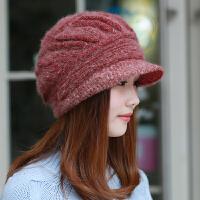 兔毛帽子女韩版秋冬百搭鸭舌帽休闲保暖针织冬天毛线帽中年妈妈帽