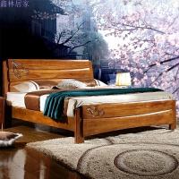 实木床中式家具单人床1.5米高箱双人床1.8米 胡桃木床 ++送货到家+安装