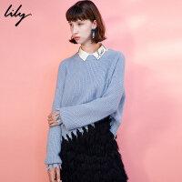 Lily2017冬新款女装时尚纯色毛边毛衣宽松圆领毛衣117440B8308