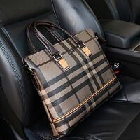 新款格子男包礼物真皮男士手提包公文男皮包横款休闲商务包包 棕色横款