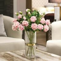 仿真玫瑰花假花仿真花客厅餐桌装饰插花束家居摆设绢花艺摆设装饰
