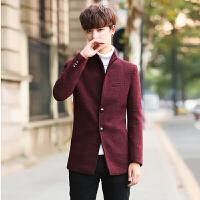 新款男士中长款风衣男呢子大衣立领男风衣夹克小清新毛呢男生外套 酒红色 M