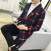 秋冬季风衣男中长款韩版修身型格子毛呢大衣男潮流冬装呢子外套潮