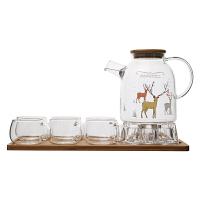 欧式蜡烛加热玻璃花茶茶具套装带过滤耐热下午茶茶壶家用功夫茶具 +大6杯+茶盘