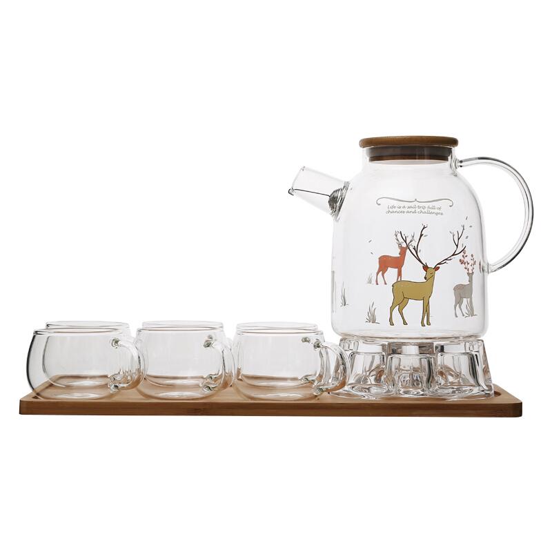 欧式蜡烛加热玻璃花茶茶具套装带过滤耐热下午茶茶壶家用功夫茶具 +大6杯+茶盘 发货周期:一般在付款后2-90天左右发货,具体发货时间请以与客服协商的时间为准