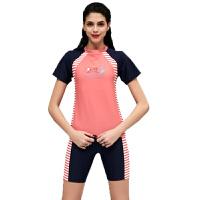 新款时尚温泉短袖遮肚保守分体平角裤泳衣女 粉红色 M