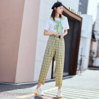 太平鸟绿色格纹休闲裤女夏装2019新款宽松垂感薄款休闲阔腿裤女装