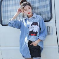 牛仔长袖衬衫女18春秋新款版宽松港风牛仔拼接条纹不规则衬衣
