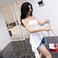 套装女夏2018新款韩版吊带不规则斜边上衣+牛仔短裤简单百搭套装
