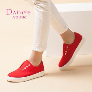 Daphne/达芙妮乐福鞋特价低跟平底套脚系带休闲布单鞋