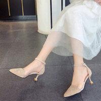 户外时尚透明尖头搭配裙子穿的凉鞋女仙女风时尚细高跟鞋