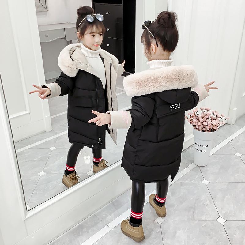 女童棉衣外套冬装长款洋气羽绒儿童棉袄冬季童装