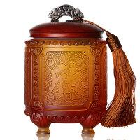 商务礼品定制logo会议送外国人的中国色礼物实用琉璃茶叶罐