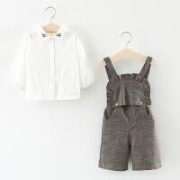 童装女童阔脚裤套装春秋儿童格子背带裤两件套0一1-3岁女宝宝春装