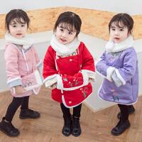 女童唐�b秋冬�b�h服旗袍����中���L�和�新年�b拜年服