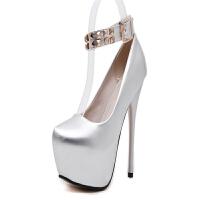 欧美夜店14cm超高跟防水台性感细跟单鞋女圆头铆钉扣带漆皮低帮鞋