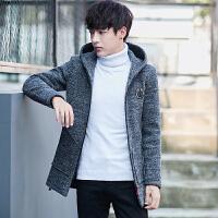 羊毛呢子大衣男韩版修身中长款男士外套冬加厚英伦毛呢外套风衣男 灰色