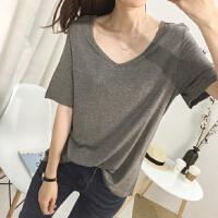 搭配韩版简约基础百搭款宽松显瘦大V领短袖T恤女