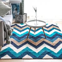 美式几何沙发地毯 客厅茶几垫简约现代卧室长方形地垫加厚 蓝色 镜湖涟漪