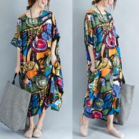 民族风连衣裙长裙夏季文艺女装复古袍子中袖宽松显瘦印花棉麻裙子