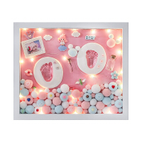 宝宝满月手足印泥胎毛纪念品新生婴儿童脚印手印相框百天礼物 实木框【粉妆玉琢】 +暖灯+数字贴