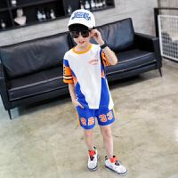 【2件2折】左西男童夏装套装儿童夏季运动男孩篮球服帅气纯棉中大童2021新款