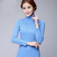 新款女式羊绒衫新品镂空半高领毛针织衫韩版外套长袖保暖毛衣舒适