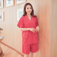 新款女式家居服韩版宽松舒适短袖汗蒸服v领纯色浴服套装 红色