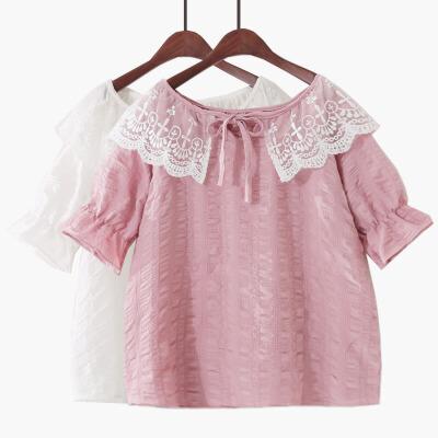 2018夏季新款纯色甜美小清新泡泡袖娃娃衫褶皱系带蕾丝雪纺衫女