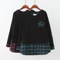 大码女装秋装胖MM格子衬衫拼接黑色套头宽松加绒假两件卫衣