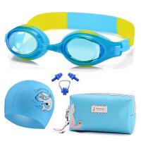 儿童游泳镜套装女童和帽子耳塞眼睛泳帽眼镜鼻夹鼻塞件套装备SN8945