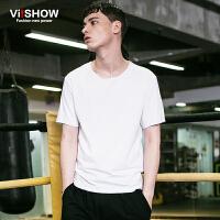viishow夏装新款短袖T恤 欧美时尚简约短袖T恤男 白色T恤棉质