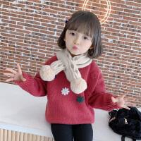 女童毛衣儿童时髦花朵秋装女宝宝外穿时髦上衣