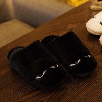 男士冬季棉拖鞋 女全包跟厚底防滑室内居家保暖韩版可爱毛毛拖鞋