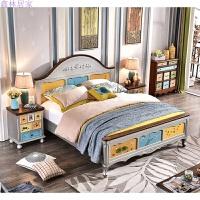 彩绘家具现代美式乡村实木床主卧地中海双人床卧室婚床1.8米 彩色系列手绘单床