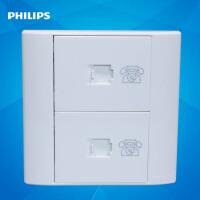 飞利浦Q4开关插座 墙壁面板86型 802-4TU双电话插座