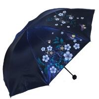 天堂伞3308e闪银新风大伞面遮阳伞三折叠闪光布太阳伞黑胶防紫外