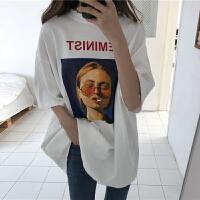 春夏女装韩版原宿风中长款宽松加厚短袖字母T恤学生打底衫上衣潮